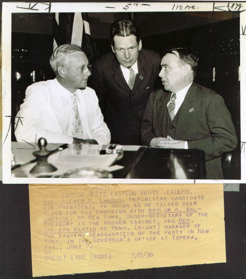 Alf Landon Jos Ballantine Joe Martin campaign pic 1936