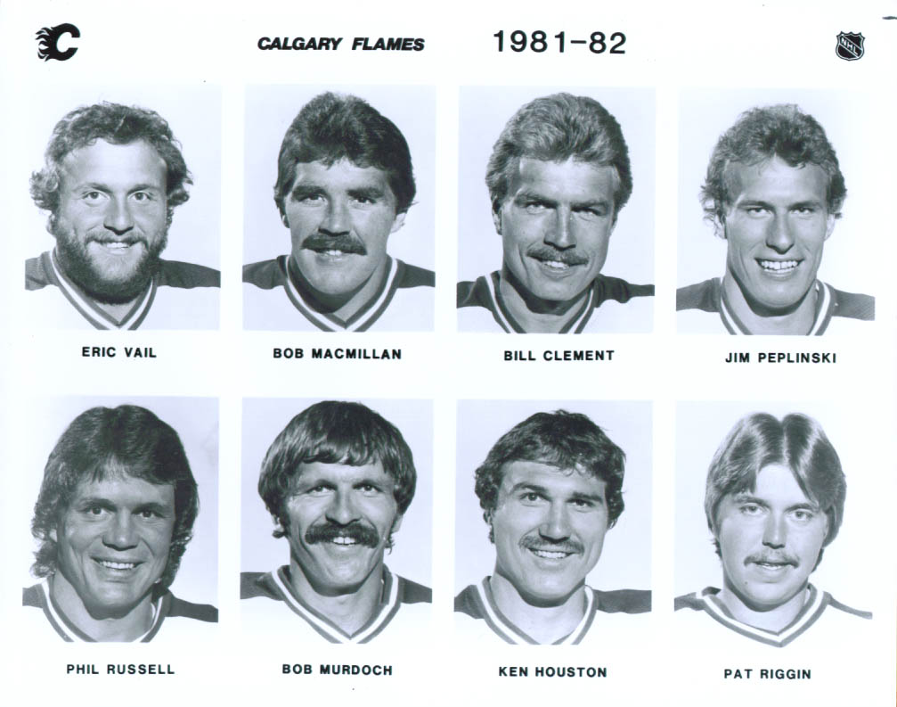 Vail Peplinski Riggin + 5 Calgary Flames photo 1981-82