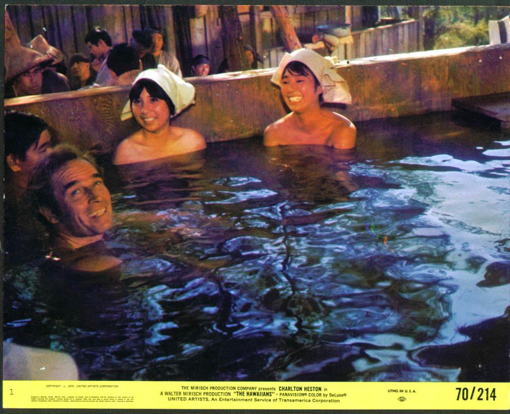 Charlton Heston girls Japanese bath The Hawaiians 1970