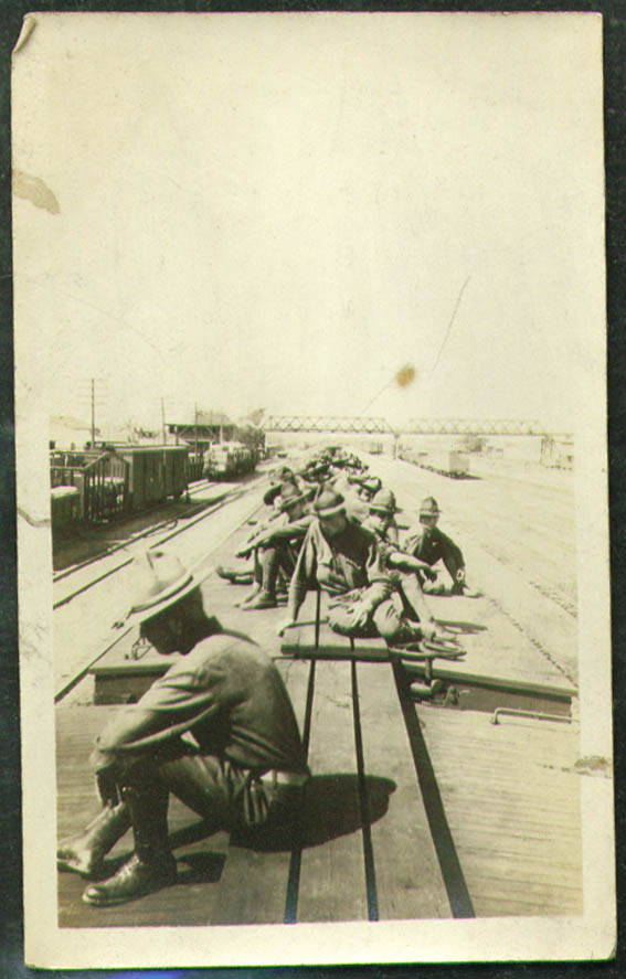 10th CT FA atop troop train boxcar photo 1916