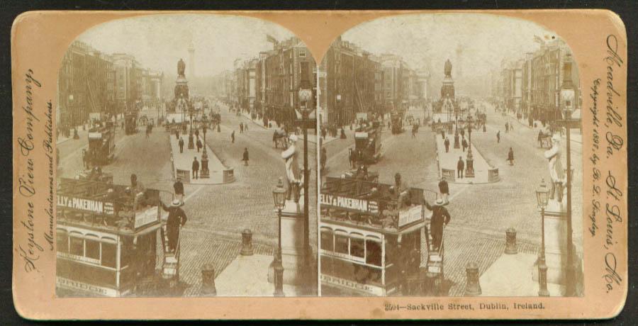 Image for Streetcars on Sackville Street Dublin Ireland stereoview 1897