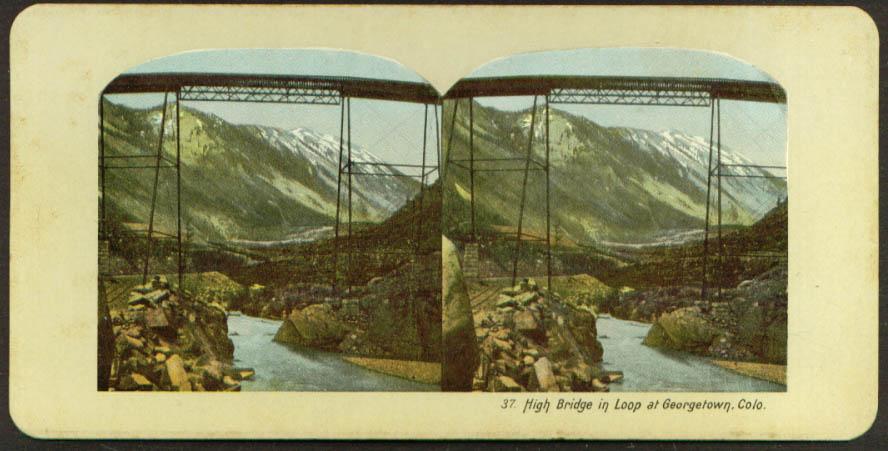 High Railroad Bridge in Loop Georgetown CO stereoview 1890s