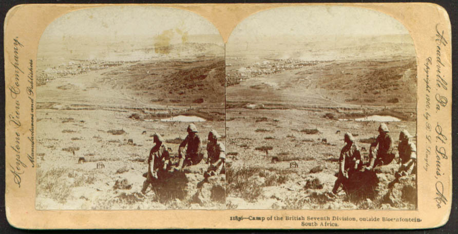 British 7th Camp Bloemfontein during Boer War South Africa stereoview 1900