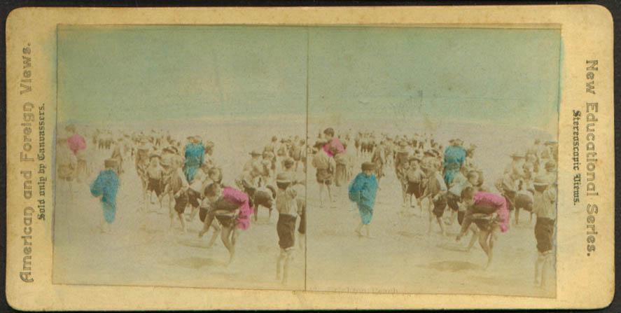 Children on Brighton Beach NY stereoview 1900 +/-
