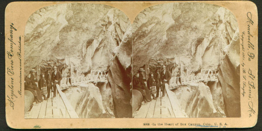 Heart of Box Canyon Ouray CO stereoview 1901