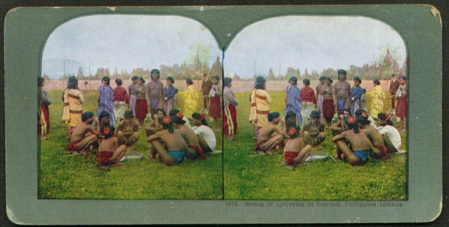 Igorrote Council in the Philippines stereoview 1900s
