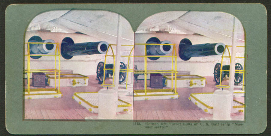 "13"" guns Battleship U S S Massachusetts stereoview 1900s"