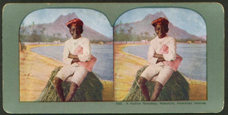 Native newsboy Honolulu Hawaii stereoview 1900s