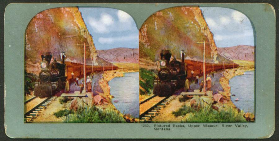 Steam train Pictured Rocks Gallatin MT stereoview 1900s