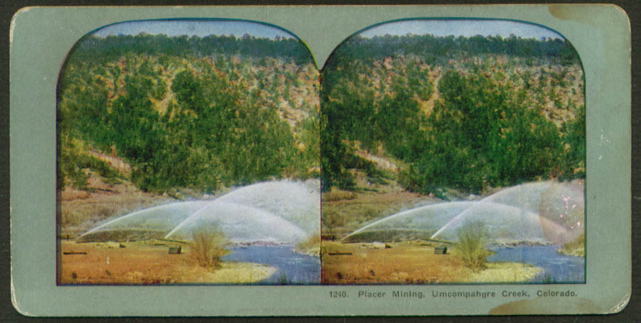 Placer Mining Umcompahgre Creek CO stereoview 1900s