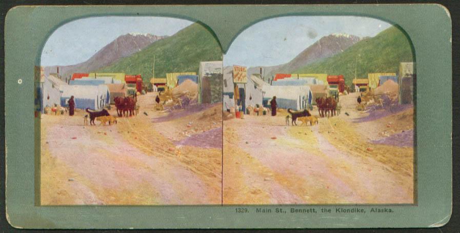 Main Street Bennet Klondike AK stereoview 1900s