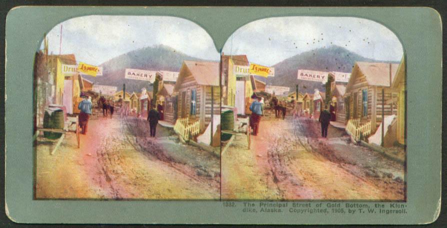 Principal St Gold Bottom Klondike AK stereoview 1905