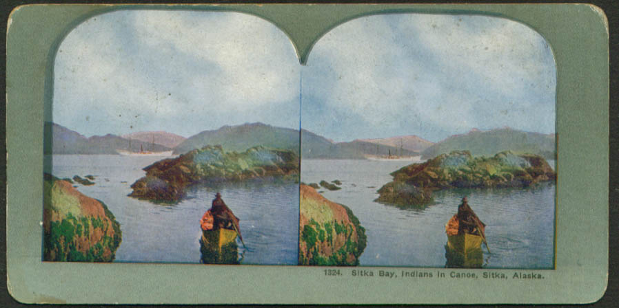 Indians canoeing Sitka Bay Alaska stereoview 1900s
