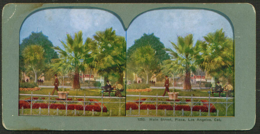Bakery Main Street Plaza Los Angeles CA stereoview 1900s