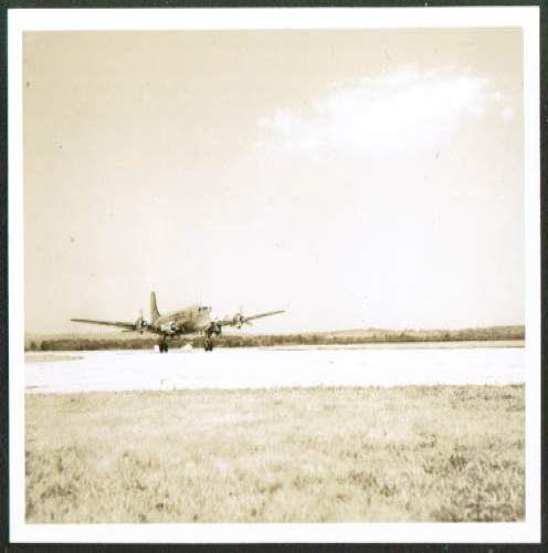 22nd Troop Carrier C-54 touchdown Westover photo 1940s
