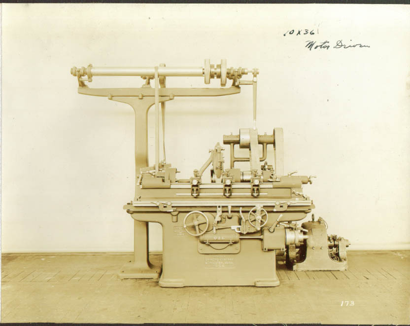 "10x36"" motor driven Norton Grinding Machine photo 1900s"