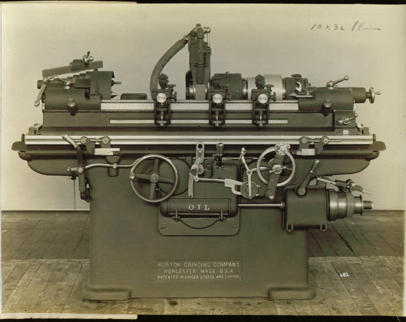 "10x36"" Belt Drive Norton Grinding Machine photo 1900s"