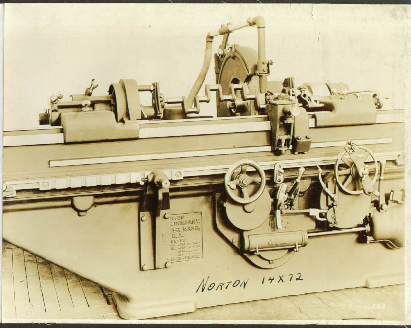 "14x72"" Plain Norton Grinding Machine photo 1900s"