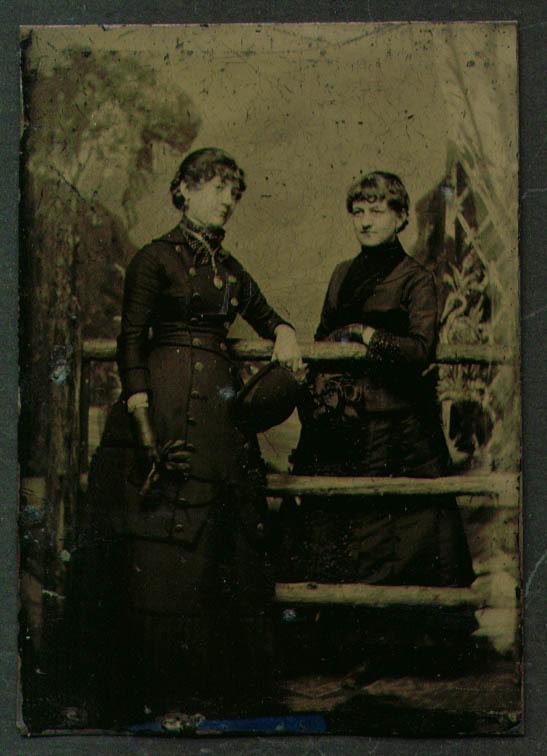 2 women 1 derby 1 straw hat & gloves tintype 1860s