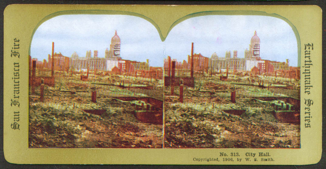City Hall after San Francisco CA Earthquake & Fire stereoview 1906