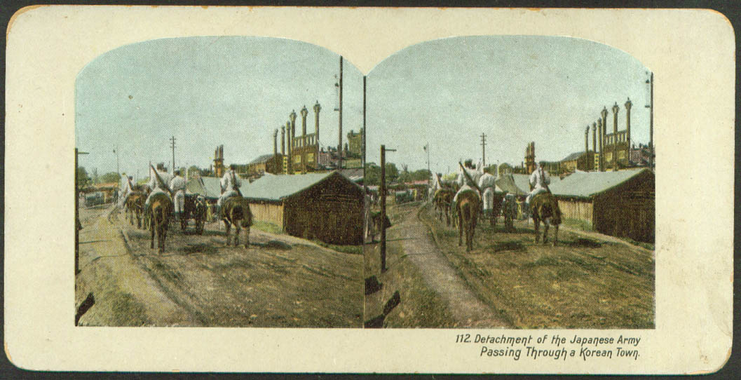 Japanese Army thru Korean Town stereoview 1900s