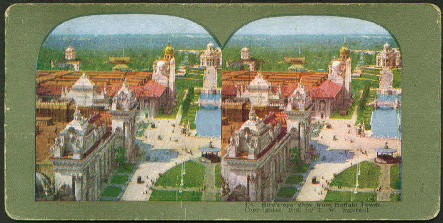 From Buffalo Tower St Louis World's Fair stereoview 1900s
