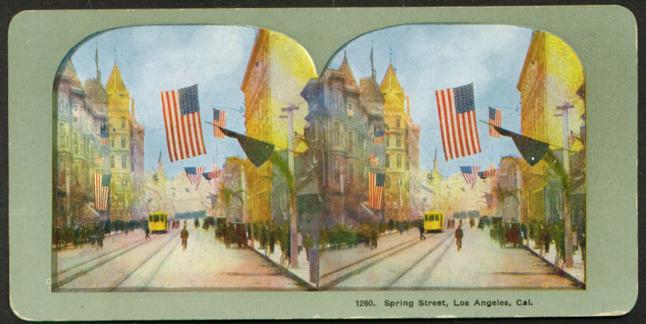 View up Spring Street Los Angeles CA stereoview 1900s