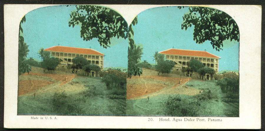 Hotel at Agua Duke Port Panama stereoview 1900s