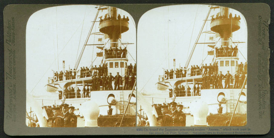 Japanese Armored Cruiser Asama stereoview 1904