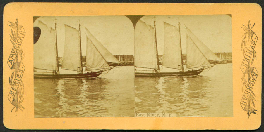 2-masted schooner East River NYC stereoview 1880s
