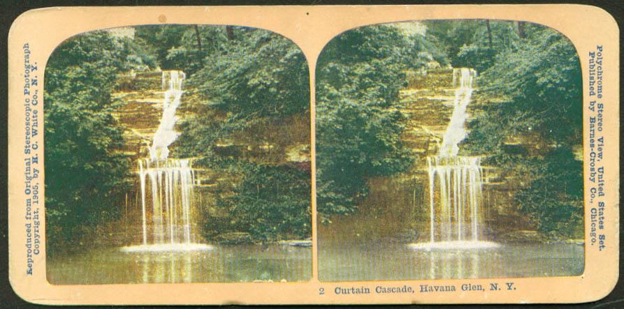Curtain Cascade at Havana Glen NY stereoview 1905