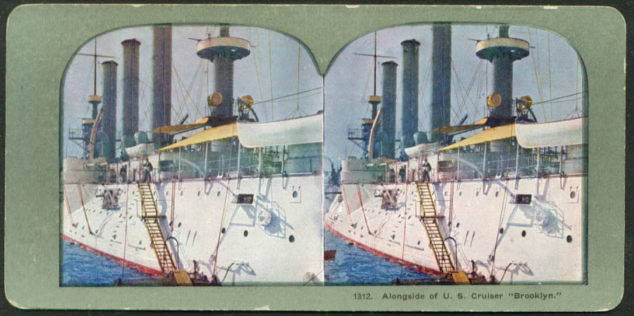 Alongside Cruiser U S S Brooklyn stereoview 1900s