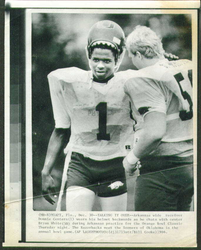 Arkansas Donnie Centers practice Orange Bowl photo 1986