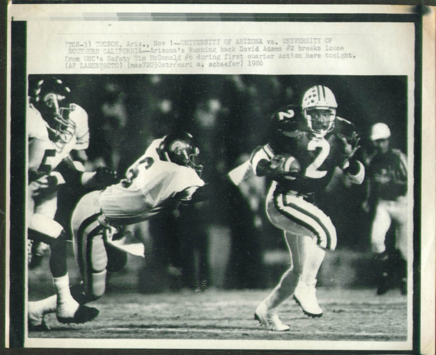 Arizona RB David Adams v USC Tim McDonald photo 1986