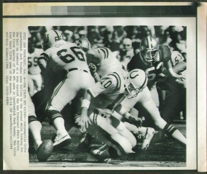Colts QB Jack Trudeau fumbles v 49ers photo 1986
