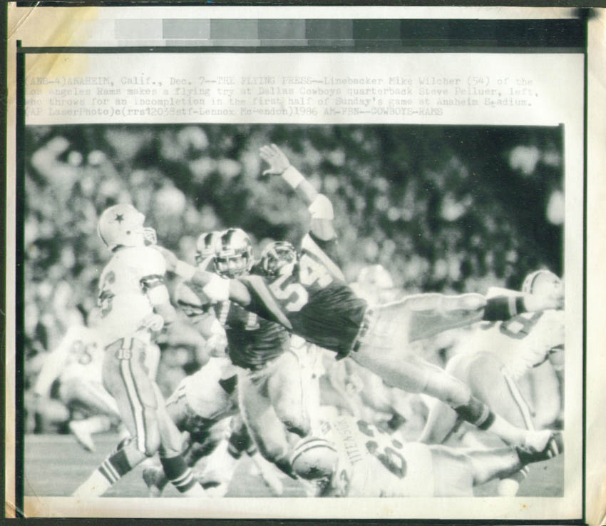 Rams LB Wilcher in face of Cowboys QB Pelluer pic 1986