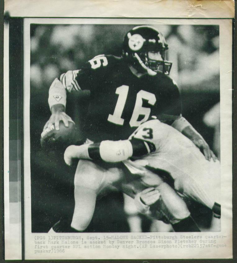 Broncos Simon Fletcher sacks Steelers Malone photo 1986