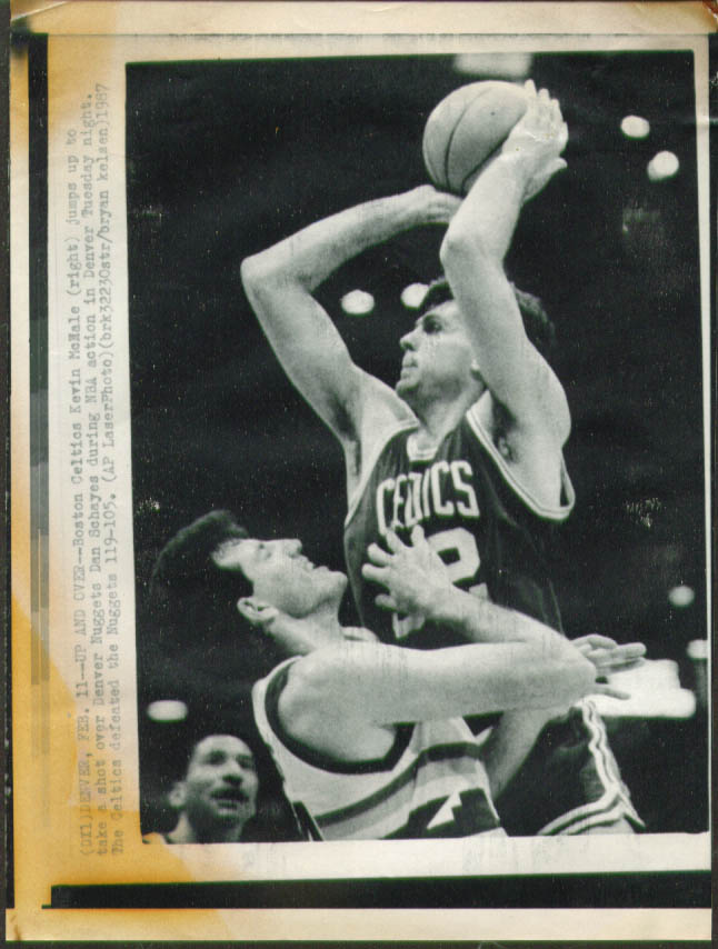 Celtics Kevin McHale shoots v Nuggets Schayes photo '87