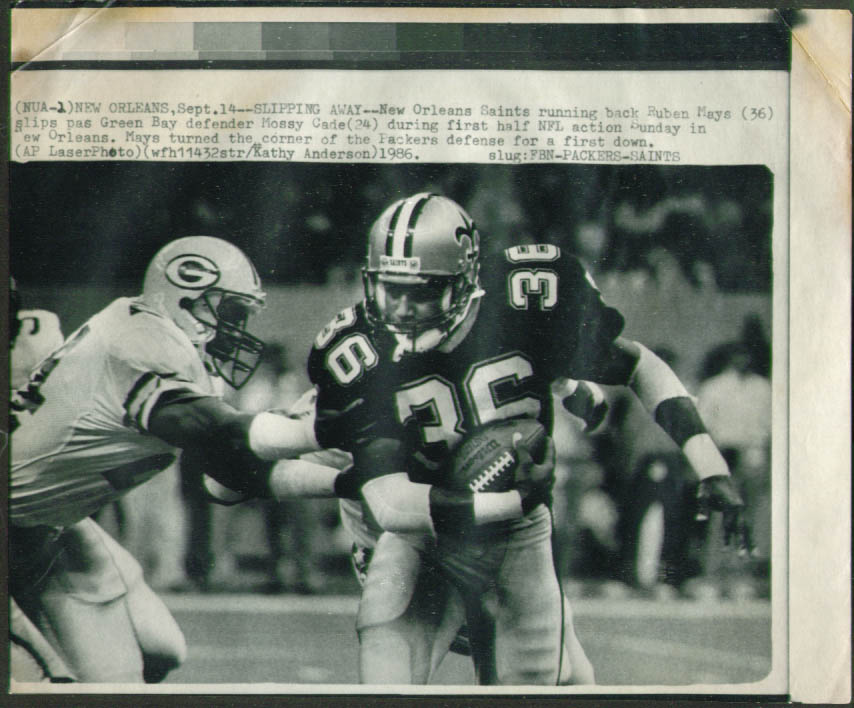 Saints RB Ruben Mays v Packers Mossy Cade photo 1986