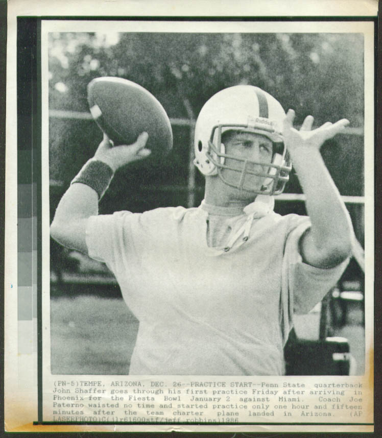 Penn State QB Shaffer practice Fiesta Bowl photo 1986