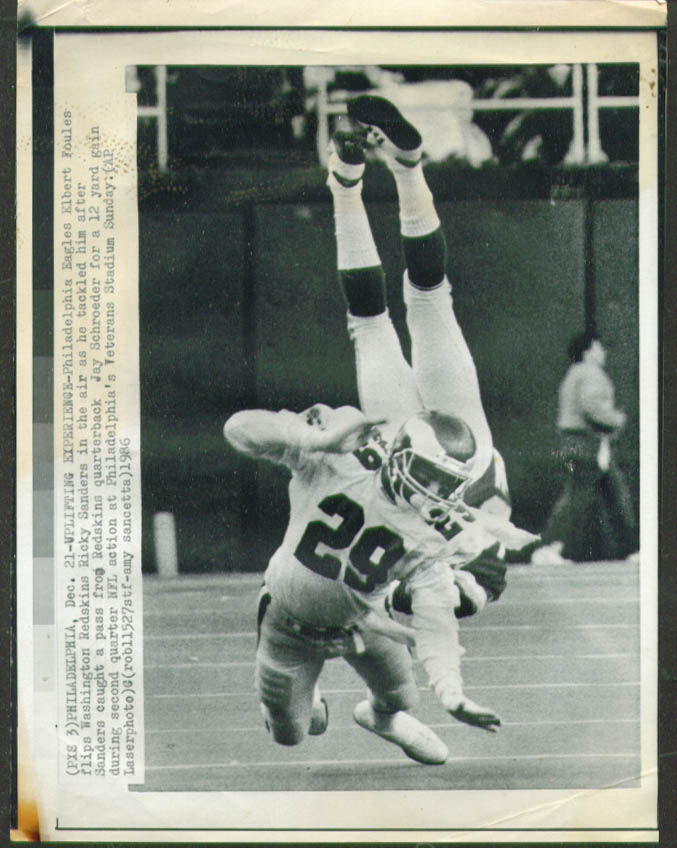 Eagles Foules flips redskins Ricky Sanders photo 1986