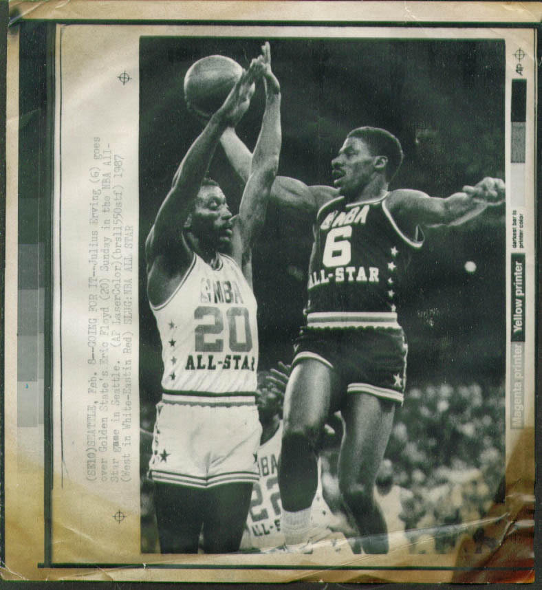 76ers Erving v Warriors Floyd NBA All-Star photo 1987