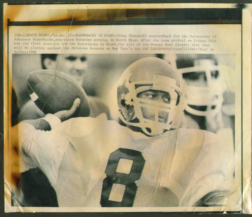 Arkansas QB Greg Thomas practice Orange Bowl photo 1986