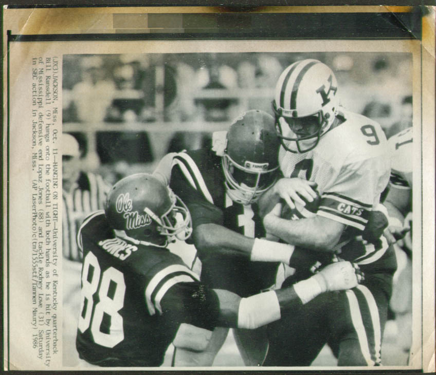 Ole Miss DE Lopaz Jones stops UK QB Ransdell photo 1986