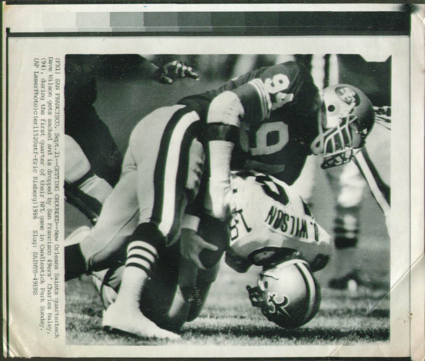 49ers Charles Haley sacks Saints QB Wilson photo 1986