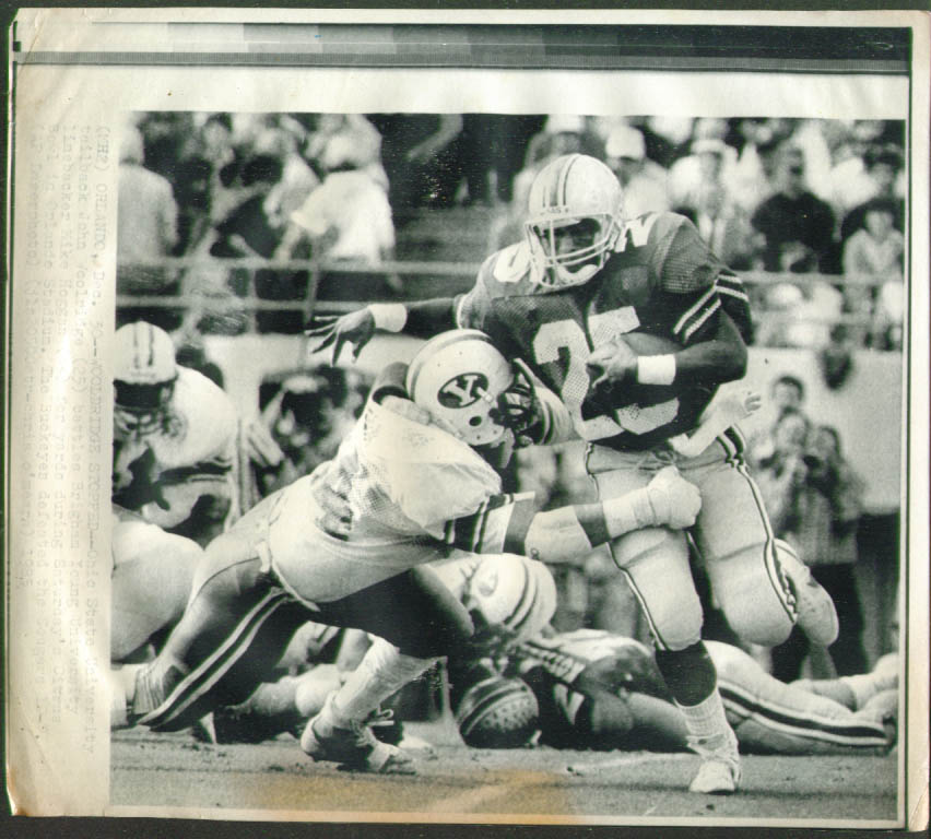 BYU LB Hoggan stops Ohio State RB Woolridge photo 1985