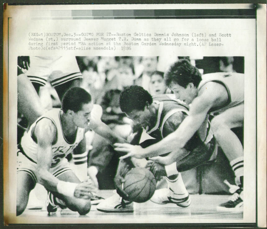 Celtics Johnson & Wedman v Nuggets Dunn photo 1986