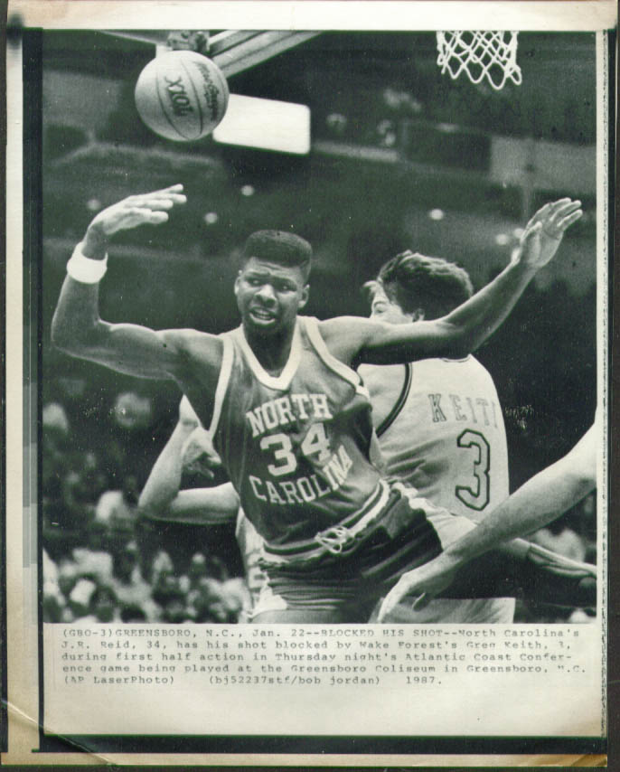Image for UNC J R Reid blocked by Wake Forest's Keith photo 1987