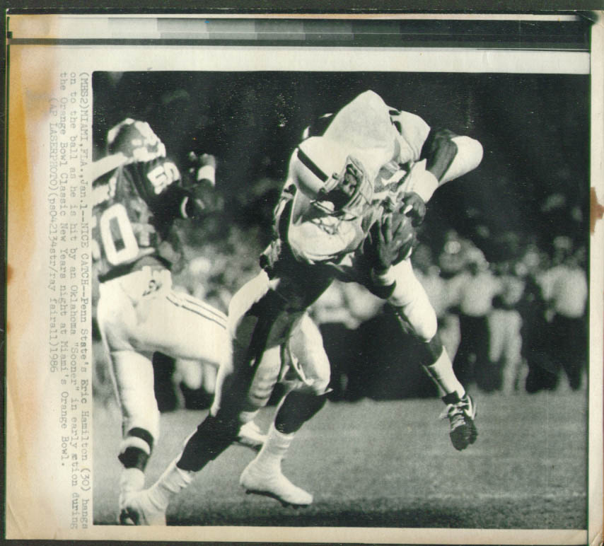 Penn State's Hamilton v Oklahoma Orange Bowl photo 1986