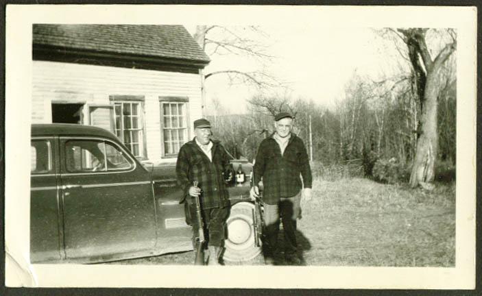 2 men 2 rifles + beer & an auto photo 1940s